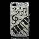 Shining Rhinestone Piano Pattern Plastic Back Case for Iphone 4 / 4S - Silver
