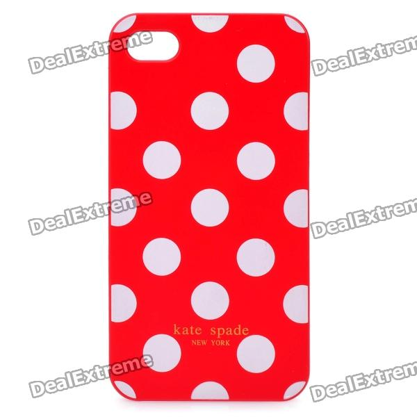 Stylish Dots Pattern Protective Plastic Back Case for Iphone 4 / 4S - Red + White protective plastic silicone back case for iphone 4 4s red