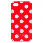 Stylish Dots Pattern Protective Plastic Back Case for Iphone 4 / 4S - Red + White