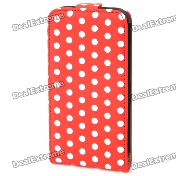 Protective Dots Pattern PU Leather Case for Iphone 4 / 4S - Red + White circle pattern protective pu leather case w strap for iphone 4 5 4s red