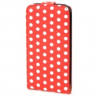 Protective Dots Pattern PU Leather Case for iPhone 4 / 4S - Red + White
