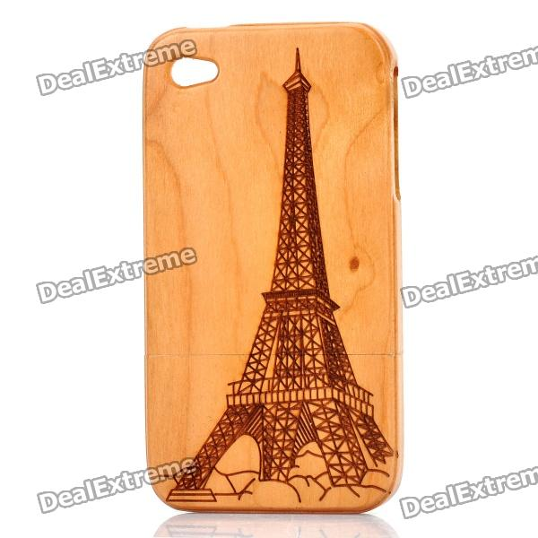 Eiffel Tower Pattern Protective Wood Back Case for Iphone 4 / 4S - Light Brown mini dual usb car cigarette lighter charger white