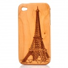 Eiffel Tower Pattern Protective Wood Back Case for Iphone 4 / 4S - Light Brown