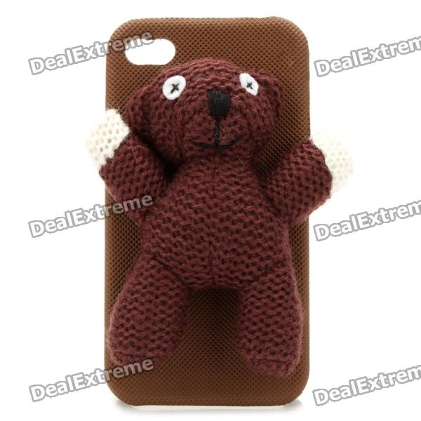 Cute Mr. Bean Bear Protective Back Case for Iphone 4 / 4S - Brown k win ip 4 stylish pu leather pc protective case w cute mustache holder for iphone 4s 4 brown