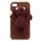 Cute Mr. Bean Bear Protective Back Case for Iphone 4 / 4S - Brown