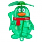 Penguin Style Handheld Portable Water Spray Cooling Fan - Green (1 x AA)