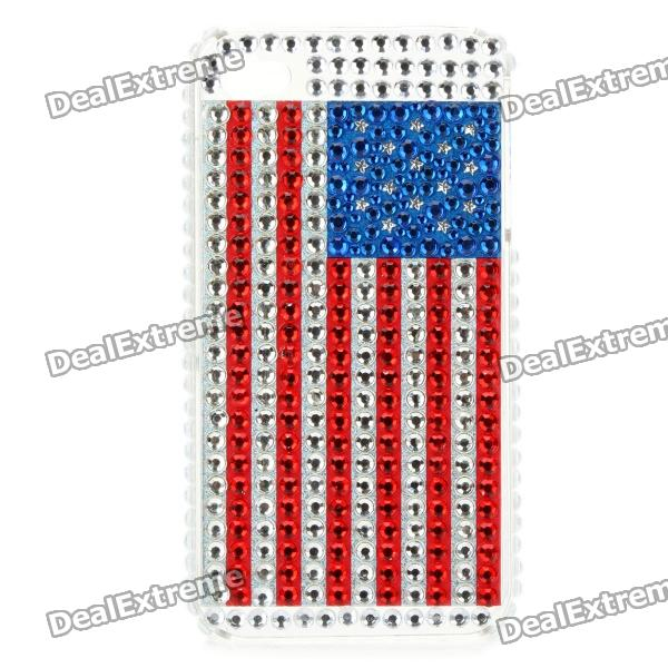 Shining Rhinestone U.S. National Flag Pattern Back Case for Iphone 4 / 4S - Blue + Red + Silver sports nylon armband bag case for iphone 4 4s cell phone blue black
