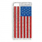 Shining Rhinestone U.S. National Flag Pattern Back Case for Iphone 4 / 4S - Blue + Red + Silver