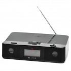 "3.25"" LCD Docking Station Speaker w/ FM / 3.5mm Line-in / Alarm Clock for iPad / iPod - Black"