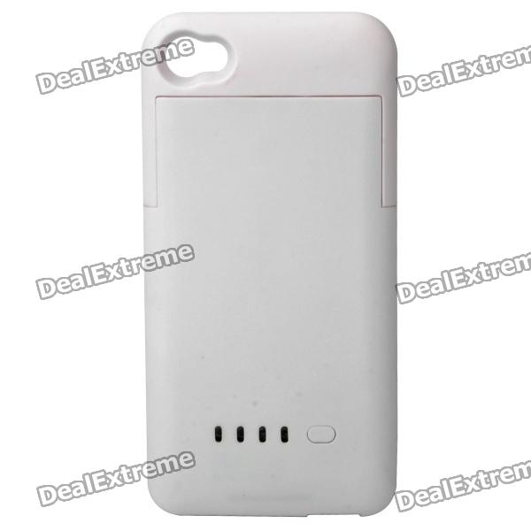 External 1900mAh Emergency Battery Back Case for iPhone 4 / 4S - White