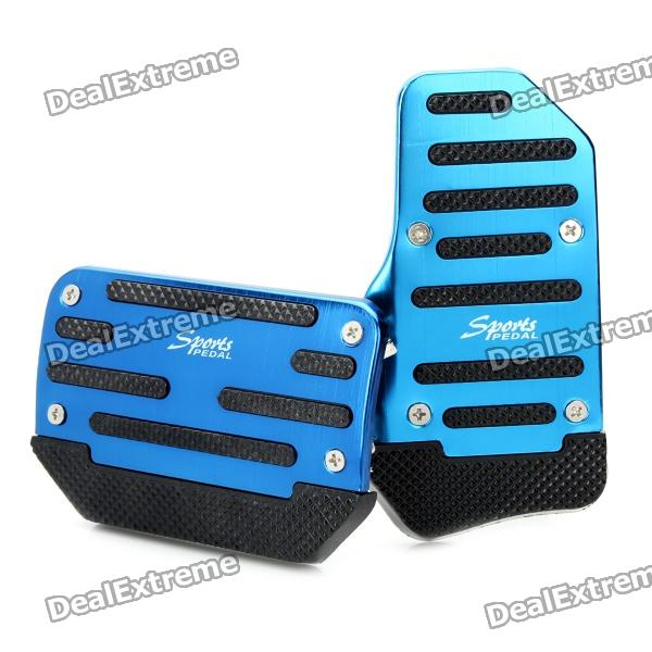 Non-slip Zinc-Aluminum Alloy A/T Car Pedal Pad Cover Set - Blue