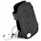PU Leather Car Key Holder Case Bag for BMW 7 & New 5 Series- Black