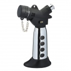 Stainless Steel Butane Jet Torch Lighter - Black + Silver (Max. 1300'C)