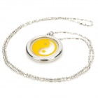 Stylish Tai Chi Pattern Lava Rock Quantum Science Scalar Energy Pendant Necklace - Silver + Yellow
