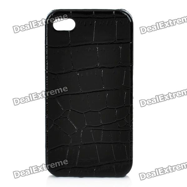 Artificial Crocodile Leather Back Cover Plastic Back Case for Iphone 4 / 4S - Black