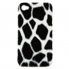 Imitation Leopard Fur Cover Plastic Back Case for iPhone 4 / 4S - White + Black