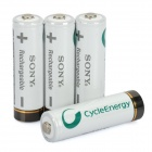 Sony Rechargeable 2500mAh AA Battery - White + Black (4-Piece Pack)