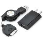 Retractable ABS USB Cable w/ 2-Feet-Flat Plug for iPhone 4 / 4S - Black (76cm)