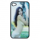 Protective Plastic Back Case with Sexy Girl 3D Graphic for iPhone 4 / 4S - Black + White + Green