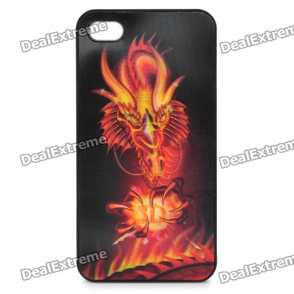 Cool 3D Fire Dragon Pattern Protective Plastic Back Case for Iphone 4 / 4S - Black + Red 3d panda pattern silicone back case for iphone 4 4s red white black