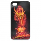 Cool 3D Fire Dragon Pattern Protective Plastic Back Case for Iphone 4 / 4S - Black + Red