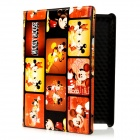 Cute Mickey Mouse Pattern PU Leather Case w/ Swivel Holder / Smart Cover for the New iPad - Orange
