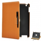Protective PU Leather Case/ Swivel Back Holder / Stylus for New Ipad - Brown