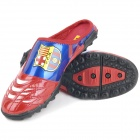 FC Barcelona Logo Pattern Soccer Slippers - Red + Blue (Pair / Size 38)