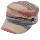 Fashion Flat Top Organic Cotton Fabric Cap Hat for Women - Red + Blue + Beige