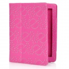 Maple Leaves and Flowers Pattern Protective PU Leather Case for Ipad 2 / The New Ipad - Deep Pink