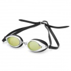 Genuine Sable PC Lens Swimming Goggle Glasses w/ Carrying Bottle - Yellow + Black + Silver