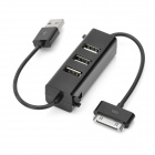 3-Port USB 2.0 Hub with Charging/Data Cable for iPhone & iPad - Black