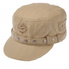 Fashion Flat Top Round Rivet Cotton Hat Cap - Khaki