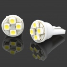 T10 4-SMD LED 1W 10LM 7000K White Light Lamps for Car (DC 12V / Pair)