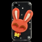 Cute Rabbit Style Protective Plastic Back Case for iPhone 4 / 4S - Transparent + Pink