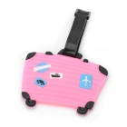 Cute Suitcase Shape Secure Travel Suitcase ID Luggage Tag - Pink