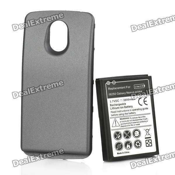 Replacement 3.7V 3800mAh Extended Battery Pack + Back Case for Samsung i9250 - Black