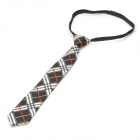 Fashion Grid Pattern Zip Up Men's Decoration Tie Necktie - Black