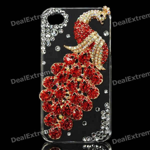 Red Peacock Pattern Protective Plastic Back Case for Iphone 4 / 4S - Red + Transparent cartoon pattern matte protective abs back case for iphone 4 4s deep pink
