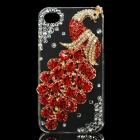 Red Peacock Pattern Protective Plastic Back Case for iPhone 4 / 4S - Red + Transparent