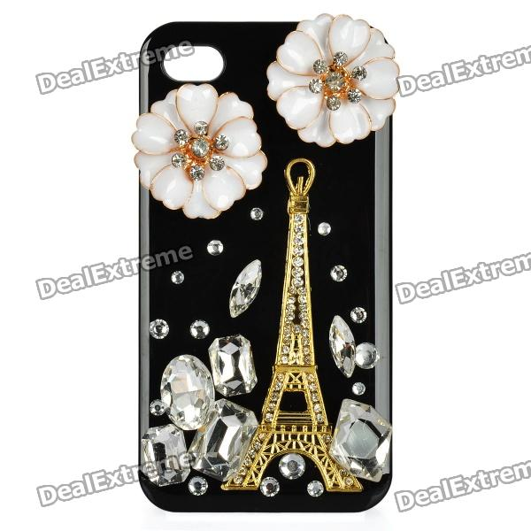 Golden Eiffel Tower Pattern Protective Plastic Back Case for iPhone 4 / 4S - Black + Golden + White