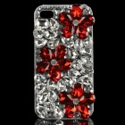 Protective Crystal Flowers Pattern Plastic Back Case for iPhone 4 / 4S - Red + White