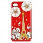 Golden Eiffel Tower Style Protective Plastic Back Case for iPhone 4 / 4S - Red + Golden + White
