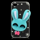 Cute Rabbit Style Protective Plastic Back Case for iPhone 4 / 4S - Blue + Pink