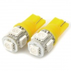 T10 1W 20~30LM 5-LED Yellow Light Bulbs for Car (12V / Pair)