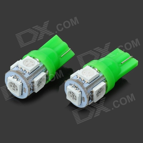 T10 1W 20~30LM 6000K 5-SMD LED Green Light Bulbs for Car (12V / Pair) t10 1w 6000k 20 lumen 2x 5050 smd led car white light bulbs pair dc 12v