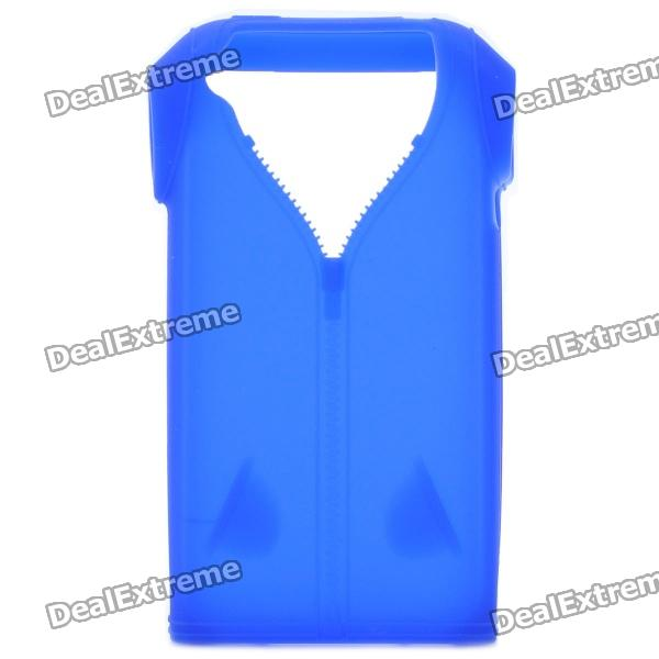 Polo Shirt Style Protective Silicone Back Case for Iphone 4 / 4S - Deep Blue cool skull head style protective soft silicone back case for iphone 4 4s pink