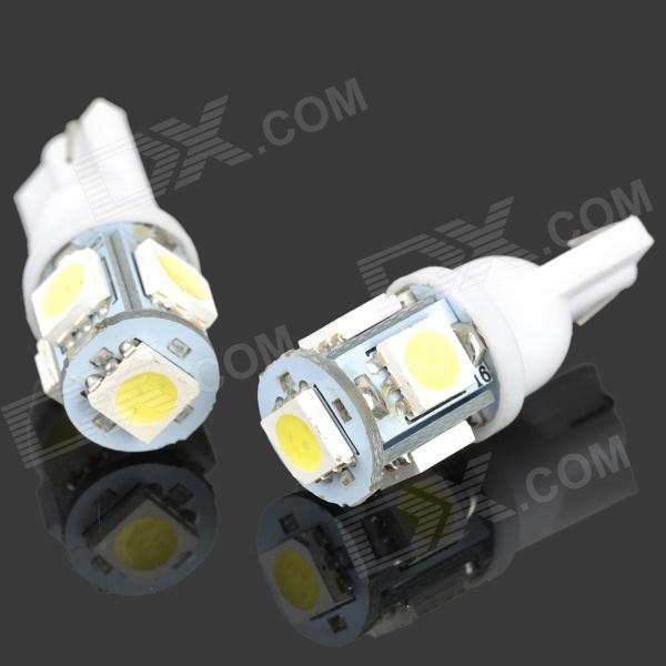 T10 1W 20~30LM 6000K 5-LED White Light Bulbs for Car (12V / Pair)Tail Lights<br>Quantity2Form  ColorWhiteEmitter Type5050 SMD LEDTotal Emitters1Color BINWhitePower1WColor Temperature6000KConnectorConnector TypeT10ApplicationDecoration light,Brake light,Instrument lamp,Signal light,Indicator lampPacking List<br>