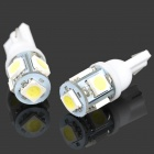 T10 1W 20~30LM 6000K 5-LED White Light Bulbs for Car (12V / Pair)