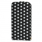 PU Leather Top Flip Case for   Iphone 4 / 4S - Black + White